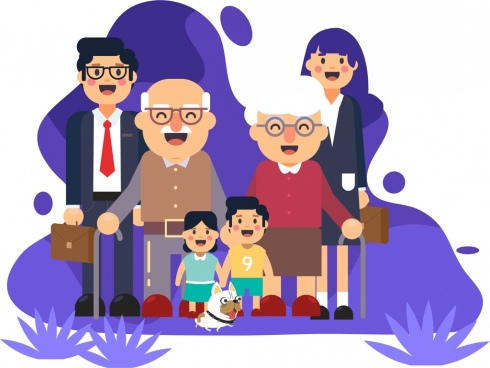 family background grandparents parents children icons cartoon characters