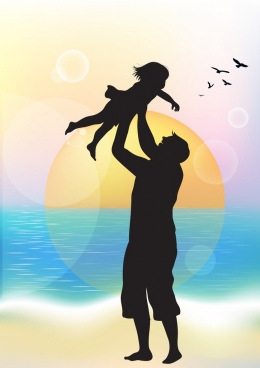 family background joyful dad daughter icons silhouette decor