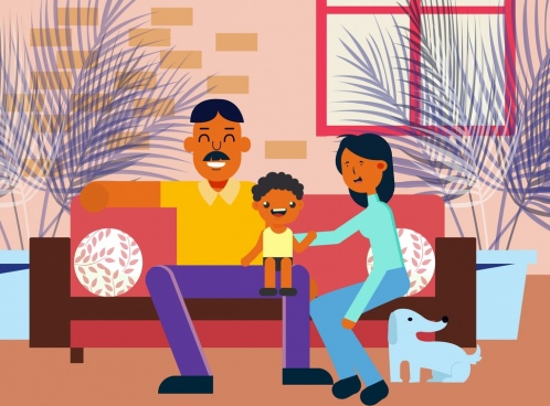 family background parents child icons colored cartoon characters