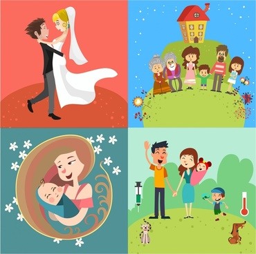 family concept vector design with time milestones