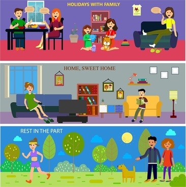 family concept with horizontal design with various activities
