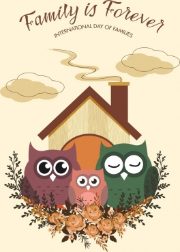 family day banner cute owl icons decor