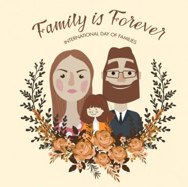 family day banner rose wreath human face icons