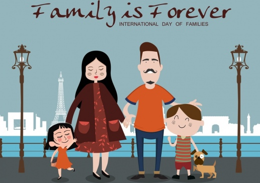 family day poster cute colored cartoon design