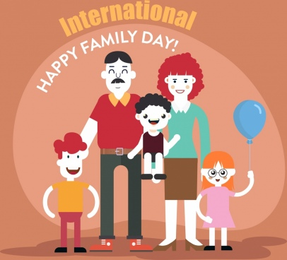 family day poster happy family icon cartoon characters