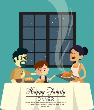 family dinner banner parents kid icons cartoon design