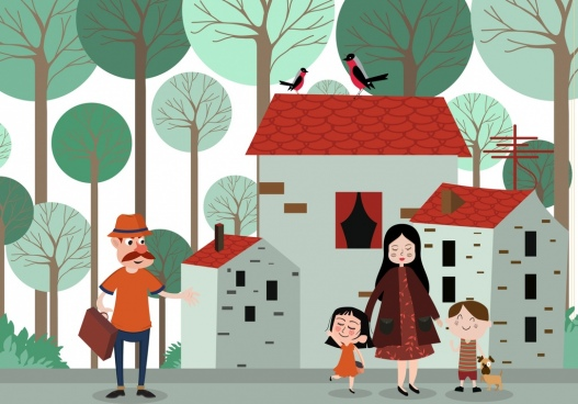 family drawing houses human icons colored cartoon decor