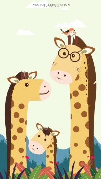 family drawing stylized giraffe icons cute colored cartoon