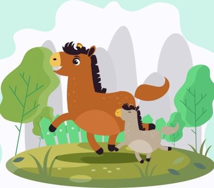 family horse background cute cartoon design