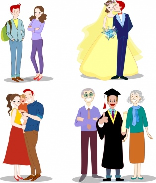 family icons generation ages theme cartoon characters