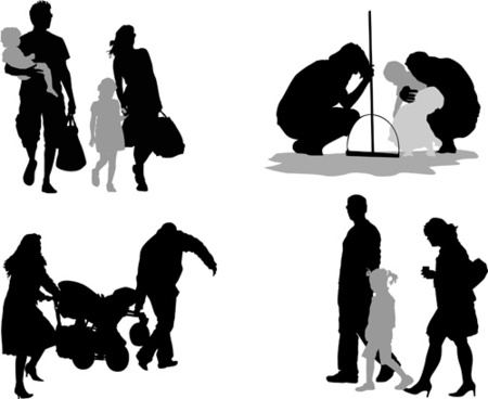 Family members silhouettes vector