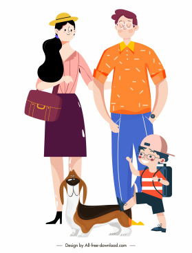 family painting colored cartoon characters sketch