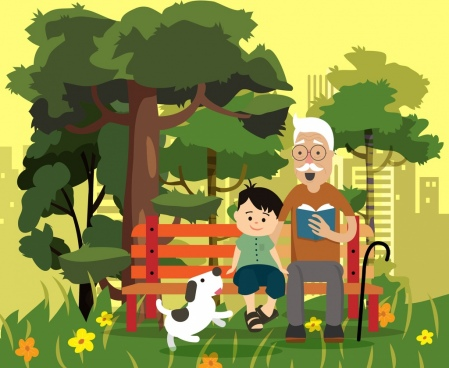family painting grandfather grandson park icons cartoon design