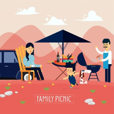 family picnic drawing parents kid outdoor barbecue icons
