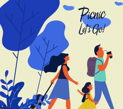 family picnic painting blue decor cartoon design