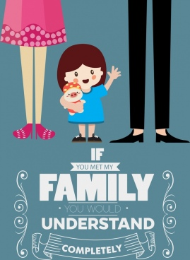 family poster cute girl icon cartoon design