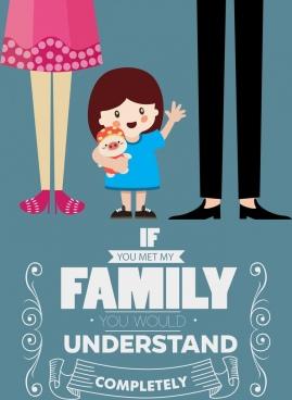 family poster cute girl icon cartoon design
