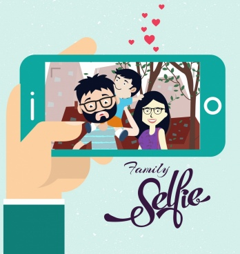 family selfie drawing camera screen cute cartoon design