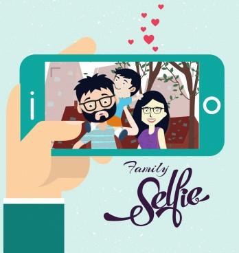 family selfie drawing camera screen cute cartoon design