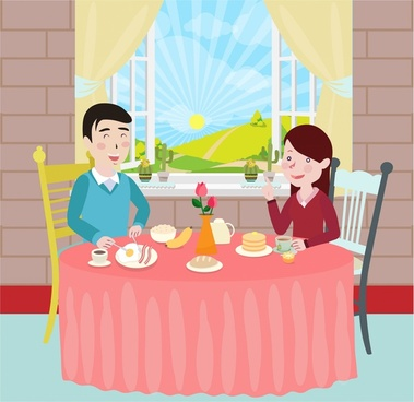 familys breakfast drawing illustration with couples and meal