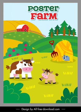 faming poster template colorful flat cartoon sketch