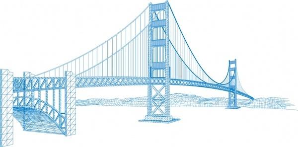 modern bridge drawing 3d colored sketch