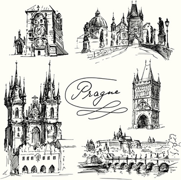 famous cities buildings hand drawn vector