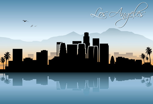 famous cities silhouette creative vector
