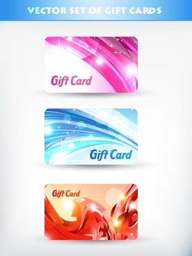 fancy gift card template vector flow line card