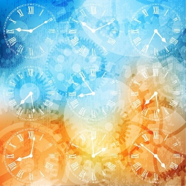 fancy silhouette background vector clock hands