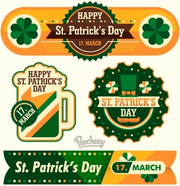 fancy st patricks day stickers and banner set