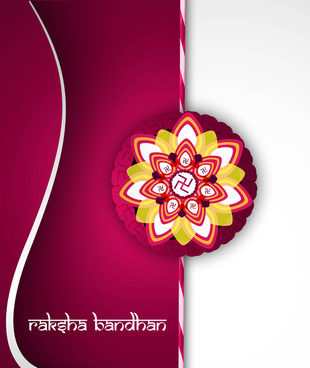 fantastic raksha bandhan card bright colorful wave background vector
