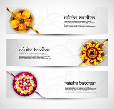 fantastic raksha bandhan celebration colorful three headers vector