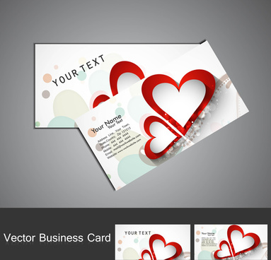fantastic valentines day red colorful heart business card set