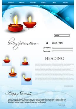 fantastic website beautiful stylish happy diwali template blue colorful festival vector illustration