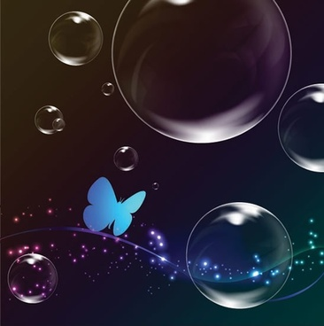 butterfly bubbles background modern motion twinkling design
