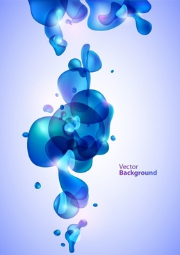 abstract background blue transparent deformed floating liquid decor