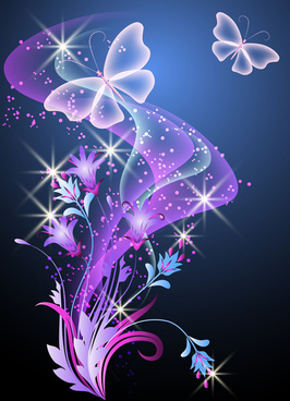 fantasy butterflies with background vector graphics