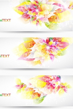 fantasy flowers background banner template vector 2