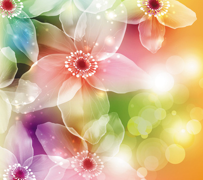 fantasy flowers shiny vector background