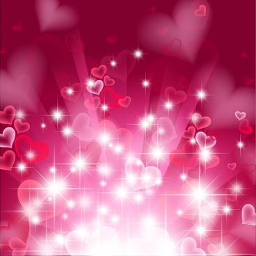 romance background twinkling dynamic hearts red blurred decor