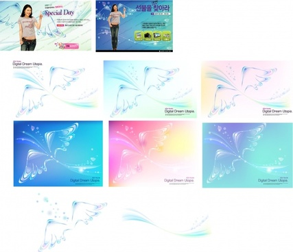 wings background sets sparkling transparent decor