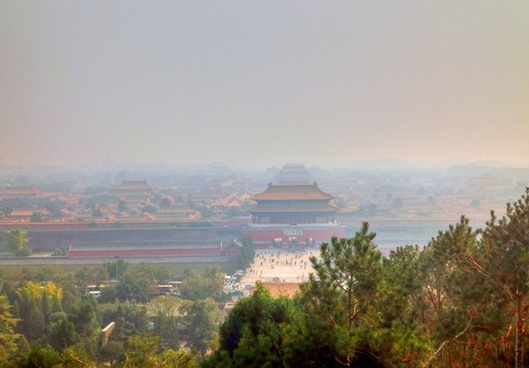 far view of forbidden city in beijing china