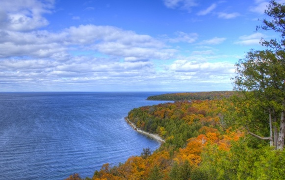 far view of the autumn shore at peninsula state park wisconsin