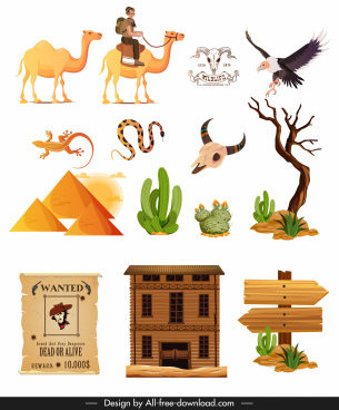 far west design elements colored classic symbols