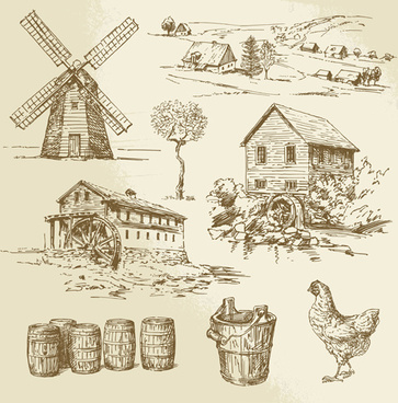 farm and poultry hand drawn vector
