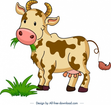 farm animal background cow icon cartoon character design
