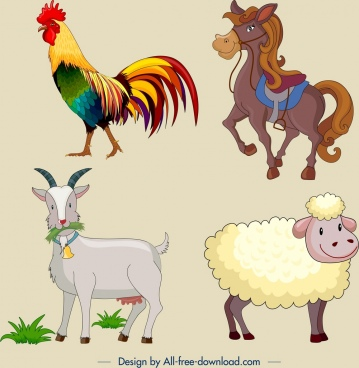 farm animal icons colored cartoon design