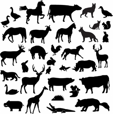 photograph regarding Free Printable Forest Animal Silhouettes identify Farm pets silhouette free of charge vector down load (13,837 Free of charge