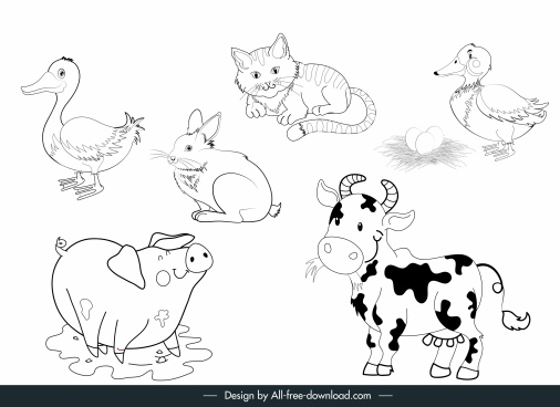farm animals icons black white handdrawn sketch